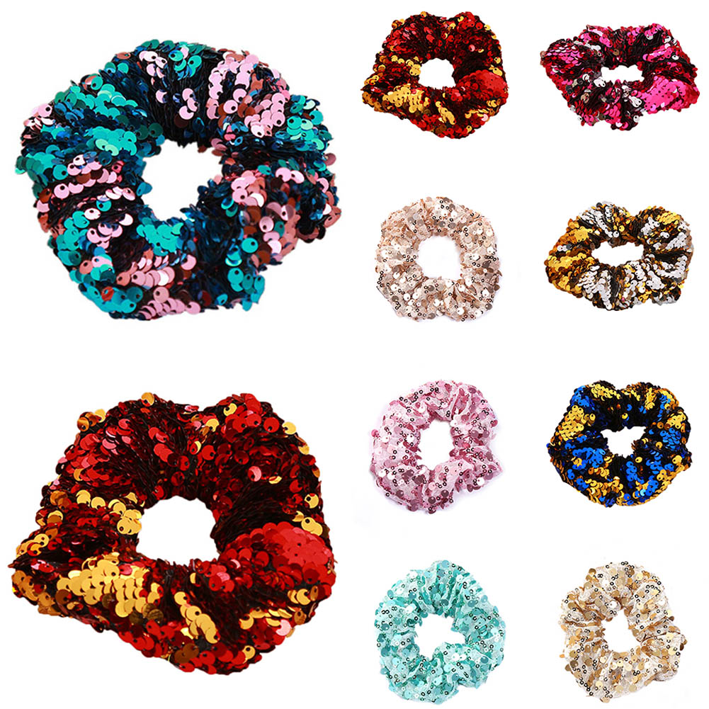 Sequin Glitter Hair Scrunchies For Girls Elastic Hair Bands Women Pink Sweet Ponytail Holder Rope Bands Bling Hair Accessories