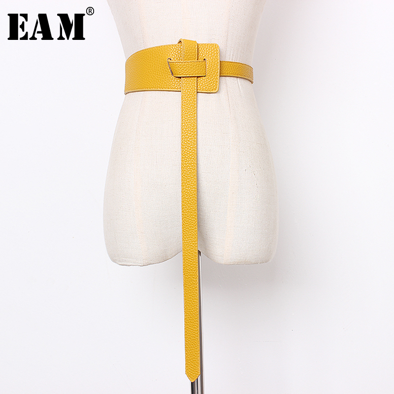 [EAM] 2020 New Spring Summer Pu Leather Black 5 Colors Bucle Stitch Personality Long Wide Belt Women Fashion All-match JS633