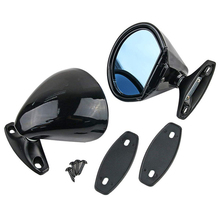 ( Left & Right ) Classic Style Car Door Wing Blue Anti-glare Side Mirror Universal Vintage Black Shell