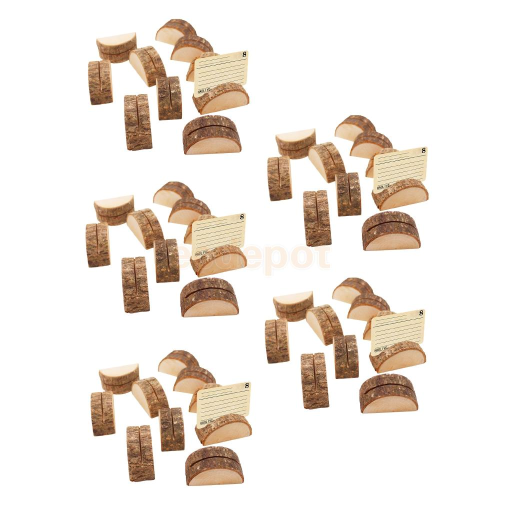 50pcs Rustic Wood Place Card Holder Party Wedding Table Name Card Holder