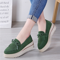 PINSV Autumn Platform Shoes Women 7 Colors Ladies Flat Shoes Women Flats Sneakers Shoes Thick Soled Creepers Moccasins