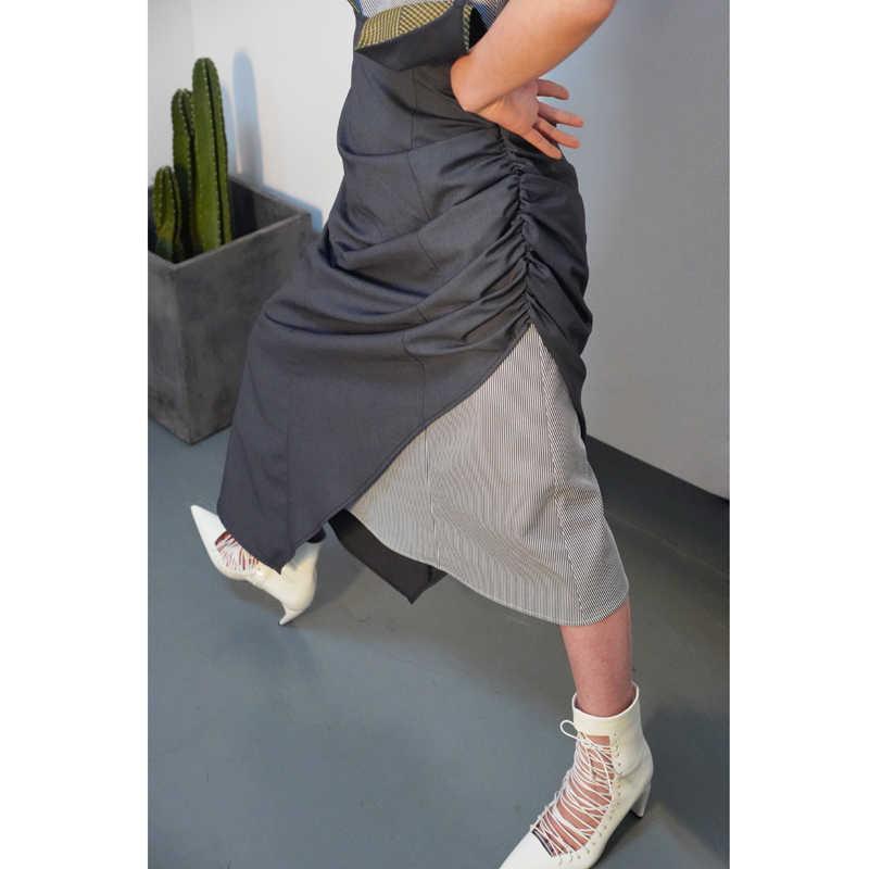 LANMREM 2019 летние контрастные цветные трехмерные чашки Асимметричные складные поддельные платья из двух частей женские без рукавов Ткань WD715