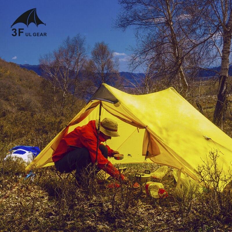 3F UL GEAR LanShan 2 personnes Oudoor ultra-léger tente de Camping 3 saisons professionnel 15D Silnylon tente sans fil - 4