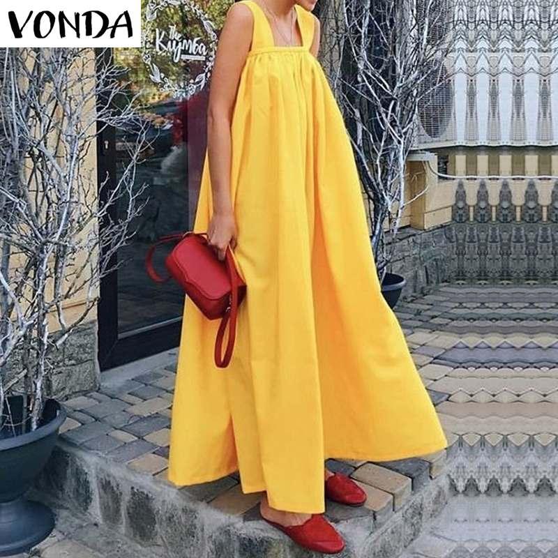 VONDA Women Maxi Long Dress 2019 Summer Sexy Sleeveless Square Neck Strap Party Dress Bohemian Holiday Vestidos Plus Size S-5XL