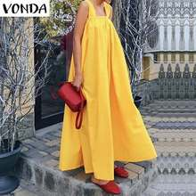 VONDA Women Maxi Long Dress 2019 Summer Sexy Sleeveless Square Neck Strap Party Dress Bohemian Holiday Vestidos Plus Size S-5XL