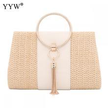 Straw Women Handbag Wedding Clutch Circular Ring Zinc Alloy Top Handle Hand Bag Weave Tassels Large Capacity Party Purse