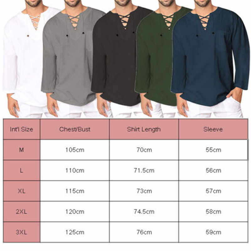 fa35dd1ae24 Mens Baggy Casual T Shirt Cotton Linen Tee Hippie Shirts Long Sleeve Yoga  Top Men Long Sleeve T-shirt Slim V Neck Tshirt Tops