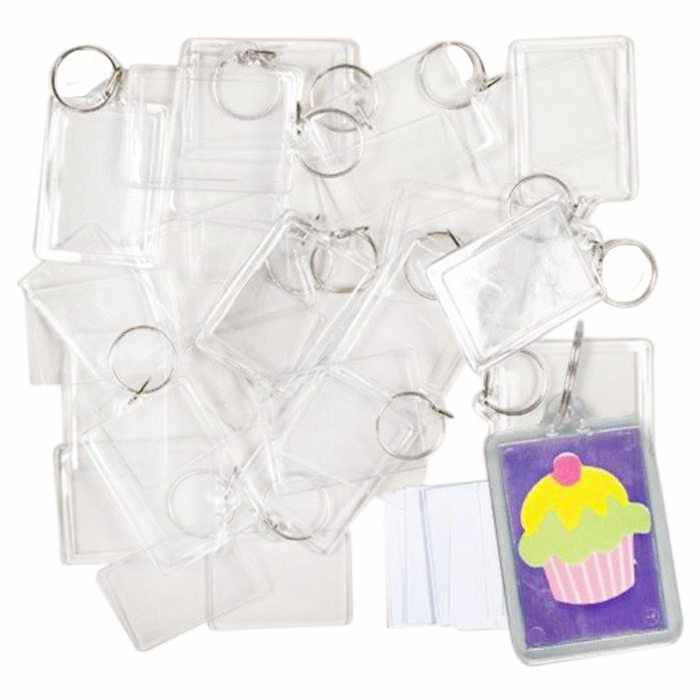 100 Pieces Transparent key holders with space for photos or images of 90 * 40mm Keychain of photo