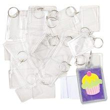 100 stück Transparent schlüssel halter mit raum für fotos oder bilder von 90*40mm Keychain von foto