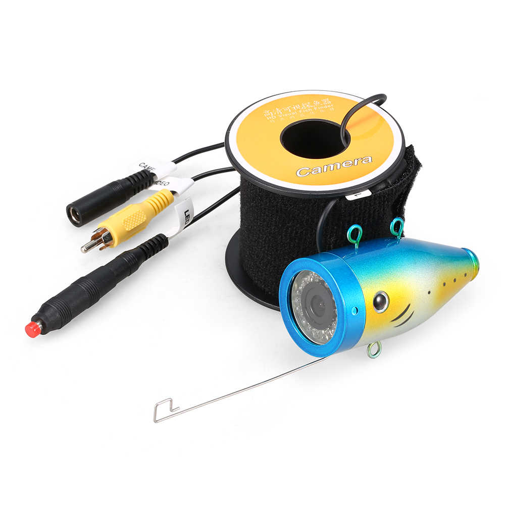 1200TVL Underwater Fishing Camera 24 LEDs Night Vision Waterproof Fish Shape Boat Ice Fishing Camera Accessories Cable