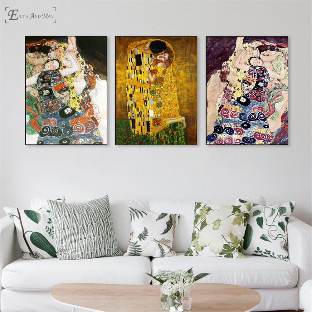 Gustav Klimt The Kiss Women Poster And Print Canvas Art Painting Wall Pictures For Living Room Decoration Home Decor No Framed Сумка