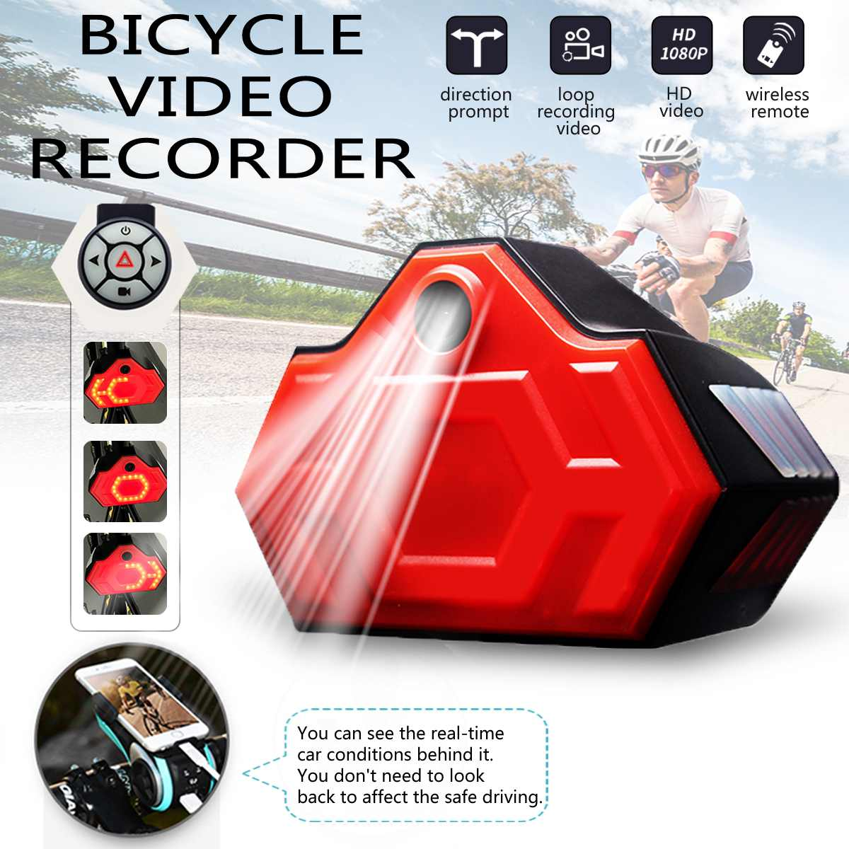 HD 1080P Bicycle Riding Driving Recorder Portable Bicycle Bike Sports Waterproof DVR Safety Warning Rear Light Bike AccessoriesHD 1080P Bicycle Riding Driving Recorder Portable Bicycle Bike Sports Waterproof DVR Safety Warning Rear Light Bike Accessories