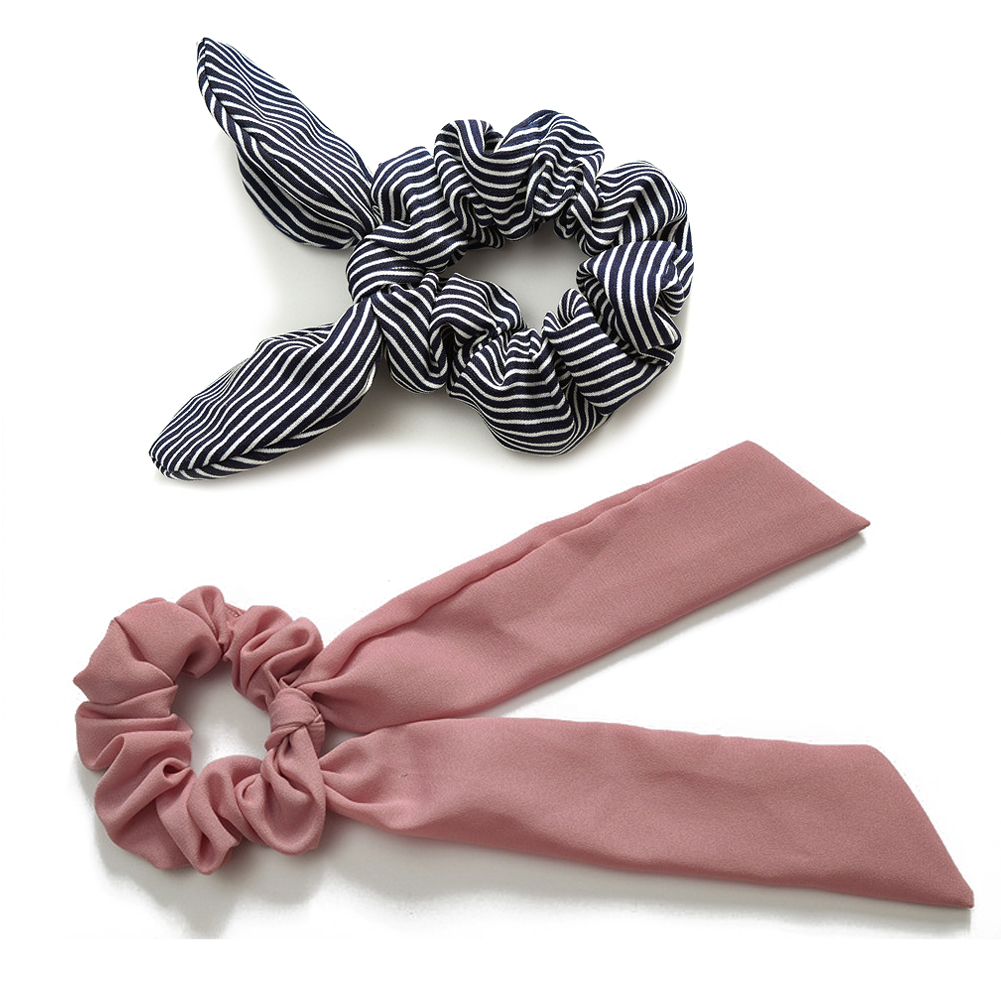 2019 Fashion Striped Bow Streamers Hair Ring Women Elastic Hair Ribbon Bands Scrunchie Girls Hair Accessories Ponytail Rope Ties