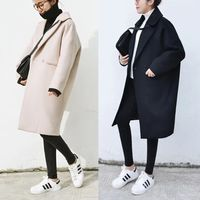 Autumn and Winter New Women's Korean Slim Was Thin Pure Color Long sleeved Temperament Medium Long Section Casual Woolen Coat