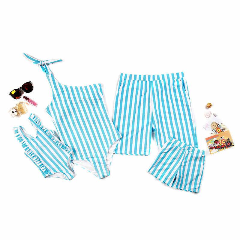 8dd3da7aeb 2019 Family Matching Swimsuit Parents Kids Striped Swimwear Women Girl One  Piece Monokini Men Boy Trunks