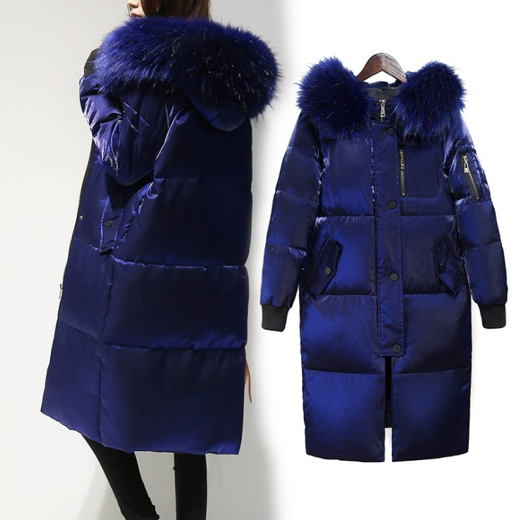 Ailegogo Winter Big Fur Collar Down Jacket Women Hooded White Duck Down Long Parkas Coat Female Slim Snow Outerwear