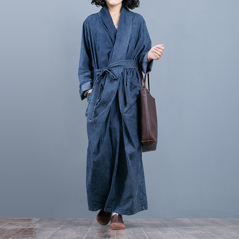 [EWQ] New Spring  2019 Fashion Long Sleeve V-collar Asymmetrical Patchwork Pockets Sashes Vintage Denim Loose Dress Women AA551