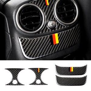 Image 2 - Para Mercedes Benz Clase C W205 C180 C200 C300 GLC de fibra de carbono compartimento central para coche para aire acondicionado trasero aire cubierta de salida de ventilación