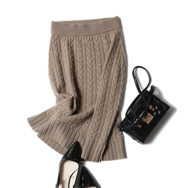 Shuchan High Quality Women& 100% Pure Cashmere Knit Midi Skirt Elastic Waist Warm Rib Knitted Knee-length Autumn Skirts Female
