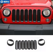 MOPAI 9 PCS Car Sticker Car Front Grilles Cover With Headlight Lamp Decoration Cover for Jeep Wrangler JK 2007+ Car Accessories