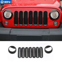 MOPAI, 9 uds, pegatina para coche, cubierta de rejillas delanteras con faro, cubierta decorativa para Jeep Wrangler JK 2007 + accesorios para coche