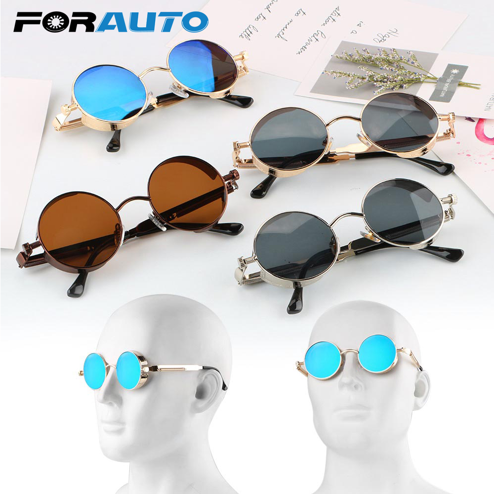 FORAUTO Motorcycle Glasses Moto Goggles Steampunk Riding Driving Eyewear Round Retro Sunglasses Protective Gears