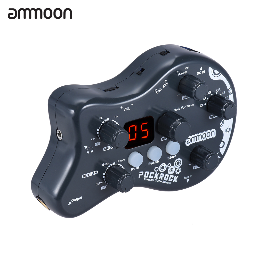 Ammoon PockRock Guitar Effect Pedal Multi-effects Processor 15 Effect Types 40 Drum Rhythms Tuning Function With Power Adapter