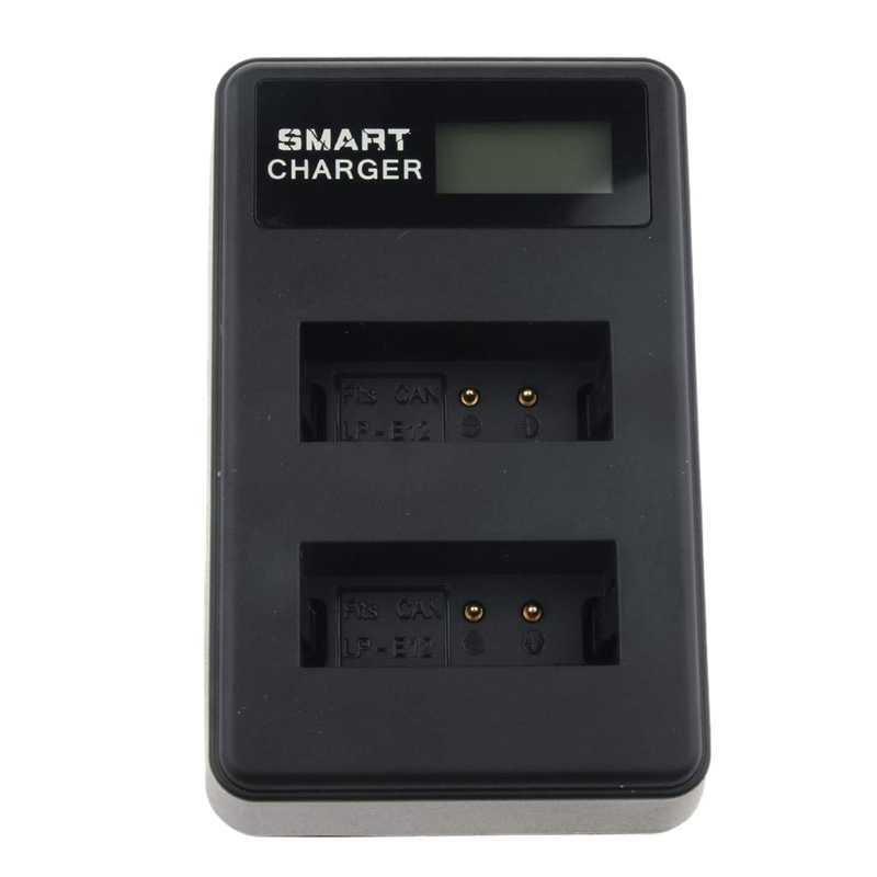 Двойной Батарея Зарядное устройство для Canon Lp-E12, совместимый с однообъективной зеркальной камеры Canon Eos M, M2, M10, M50, M100, 100D, поцелуй M, X7, Rebel Sl1, кнопка питания
