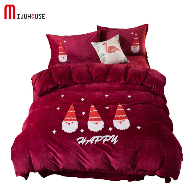 New Crystal Velvet Bedding Set Cute Santa Claus Towel Embroidery Duvet Cover bed Sheet Pillowcase Warm Winter Christmas Gifts