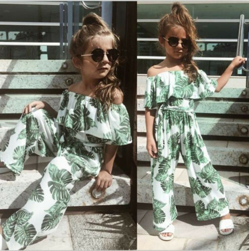 US Toddler Girl Princess Fashion Printing Green Leaf Off Shoulder Casual Outfits