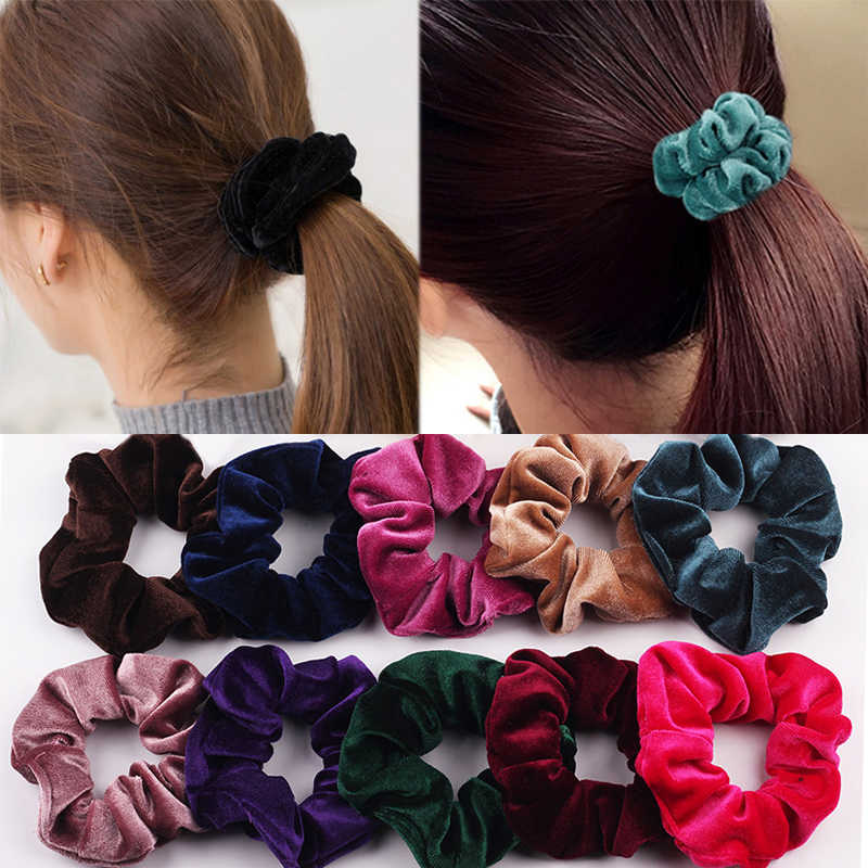 2019 Velvet Solid Elastic Hair Bands Ponytail Holder Scrunchies Tie Hair Rubber Band Headband Lady Hair Accessories