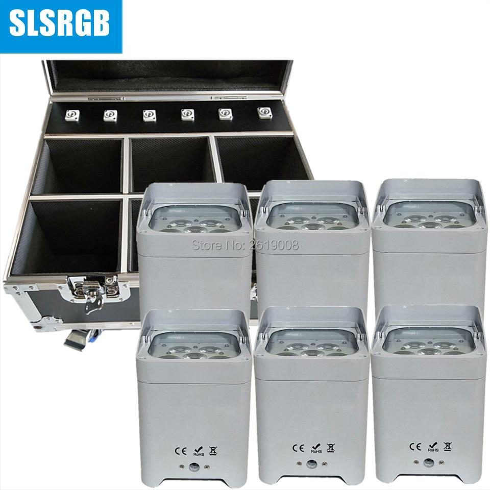 6pcs/lot with flightcase 6PCS IRC led battery power wireless dmx par light Carry dj light bar wedding par 6x18w rgbwa uv 6in1