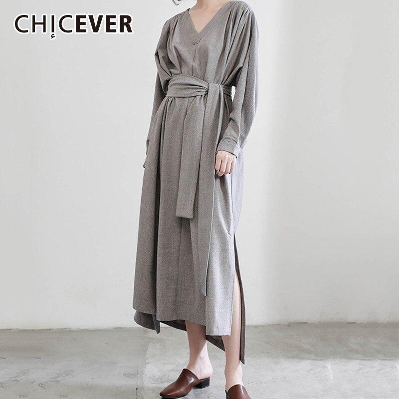 Chicever 가을 드레스 여성용 v 넥 긴 소매 높은 허리 붕대 불규칙한 분할 밑단 드레스 여성 패션 캐주얼 의류-에서드레스부터 여성 의류 의  그룹 1