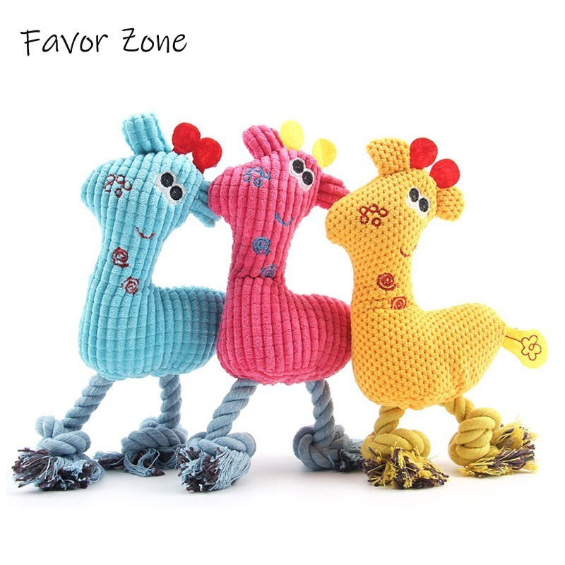 Funny Chew Squeak Sound Dog Toy Cute Plush Fawn Puppy Kitten Interactive Toy Durability Animal shape Cat Toys All Pets Products in Dog Toys from Home Garden