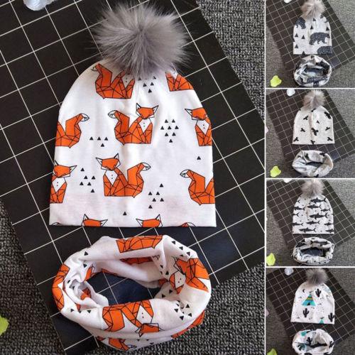Комплект из 2 предметов, тонкие перчатки с забавным принтом, шапка и шарф для От 1 до 3 лет, детские зимние шапки, шапочки, шарфы, теплая маска д...