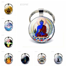 Chakra Symbols Pendant Keychain Buddhism Indian Sign Glass Cabochon Key Chain Ring Chakra Symbols Jewelry Gifts for Women Men symbols