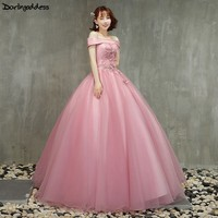 Cheap Lace Quinceanera Dresses Ball Gown Off Shoulder Sweet 16 Debutante Dresses for 15 Years Pink Long Prom Dress Plus Size