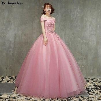 ca0e2b59e De encaje barato vestidos de Quinceañera de bola vestido hombro dulce 16  Debutante vestidos para 15 años Rosa vestido de fiesta largo Plus tamaño