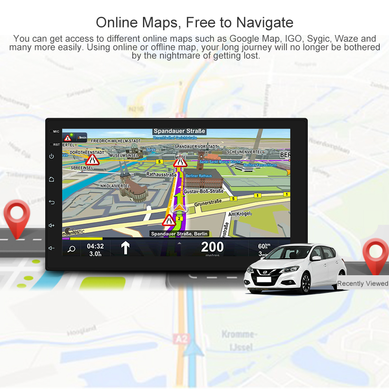 7 zoll Android8.1 2 Din Auto DVD radio Multimedia Player GPS navigation Universal für Nis san peugeot toyota doble din autoradio