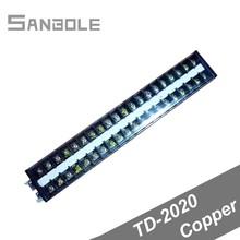 Copper TD-2020 Connection Terminal block Dual Row Connect 1-2.5mm2 Plug-in Unit Connector 20A/600V 20P Barrier Strip jtron zero line row ground row copper grounding strip 5 terminal block