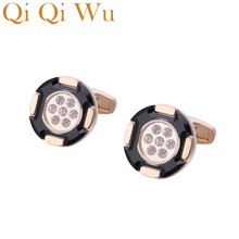 Qi Wu Luxury Men Jewelry Rose Gold Shirt Cufflinks for mens Brand Wedding Cuff Buttons Glass Iinks High Quality Gemelos