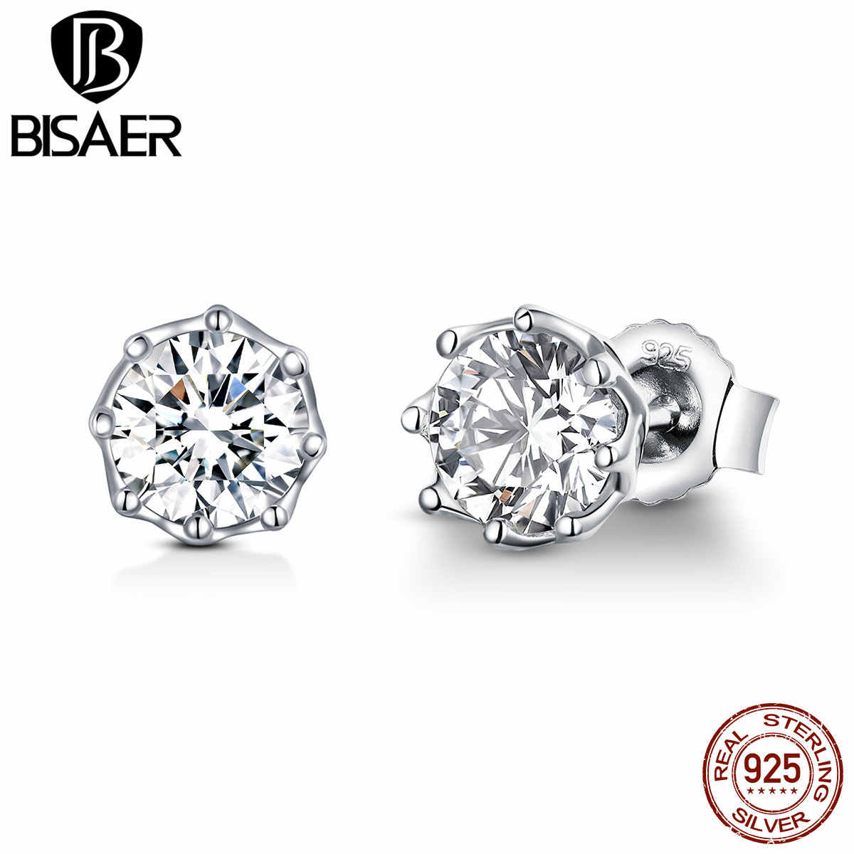 BISAER 925 Sterling Silver Crystal Simple Small Stud Earrings for Women Cubic Zirconia Fashion Earrings Jewelry Brincos ECE499
