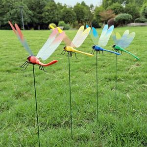 20pcs Plastic Durable Creative Dragonfly Stakes with Sticks Planter for Craft Supplies Outdoor Yard Garden Decor Lawn Ornament(China)