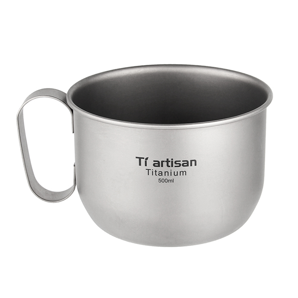 500ml Outdoor Titanium Water Cup Coffee Mug Outdoor Tableware Camping Cup Picnic Water Cup Mug For Coffee Tea Drinking