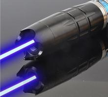 High Power 300000m 450nm  burning focusable blue laser pointer with 5 star caps adjust focus to burn paper light cigarette