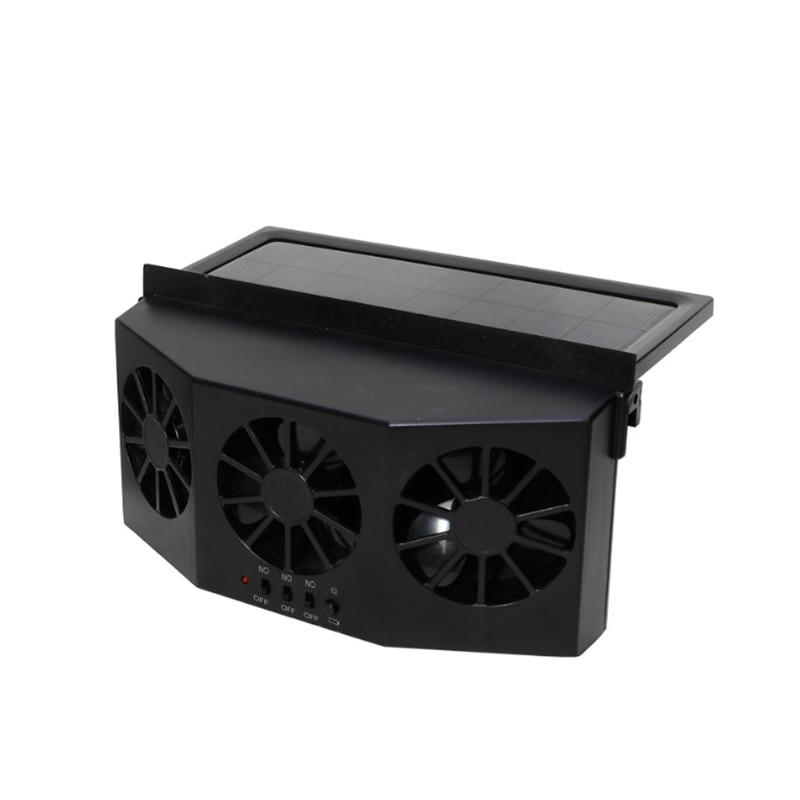NEW-Car Fan Ventilation Solar Car Three Hood Auto Exhaust Fan Radiator Solar Car Desuperheater Powerful Power-Black