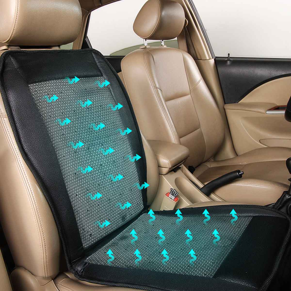 12V Summer Cool Cushion W/ The Fan Blowing Cool Summer Ventilation Cushion Seat Cushion Car Seat W/cigarette Lighter Controller