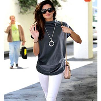 Jocoo Jolee kobiety na co dzień z golfem krótki rękaw w kształcie skrzydła nietoperza bluzka kobiet bawełna stałe bluzka w rozmiarze Plus Size koszulka żeńska 2020 odzież tanie i dobre opinie COTTON REGULAR Osób w wieku 18-35 lat Stojak WOMEN NONE Suknem T123