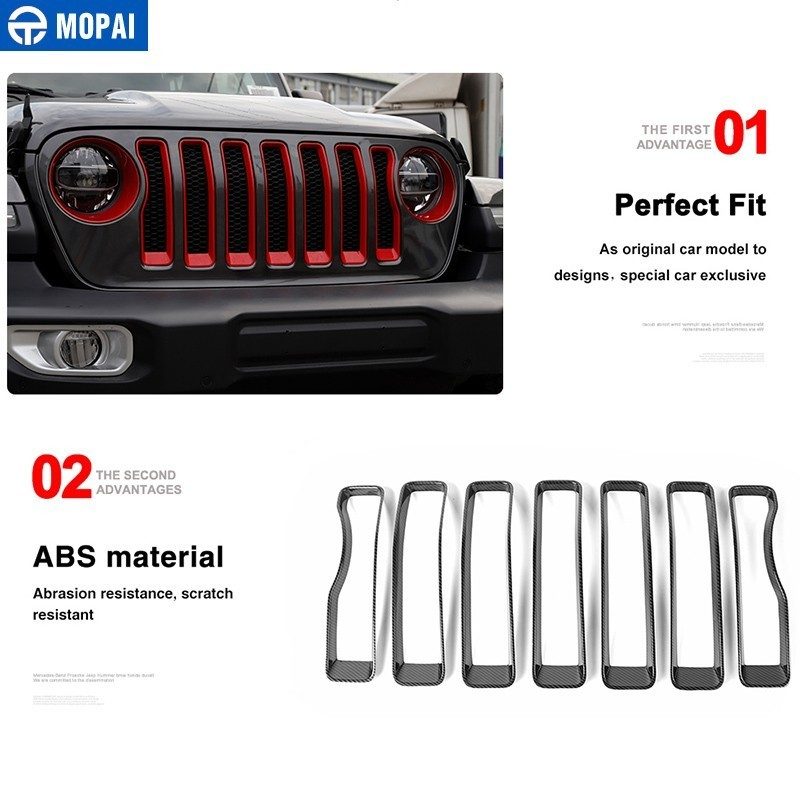 Image 5 - MOPAI Car Sticker for Jeep Wrangler JL 2018 ABS Car Front Grilles Decoration Cover Trim for Jeep Wrangler 2019+ Car Accessories-in Car Stickers from Automobiles & Motorcycles