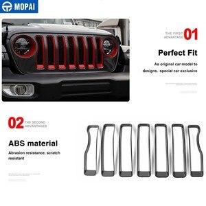 Image 5 - Mopai frente do carro grades decoração capa etiqueta para jeep wrangler sahara 2018 + acessórios do carro para jeep gladiador jt 2018 +